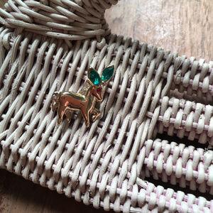 60s Vintage Tiny Gold Rhinestone Donkey Brooch